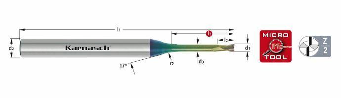 Karnasch VHM-Micro frees HSC/HPC Ø0,4/L3= 3,0mm/ NHC-7000 coating Art: 3062020040030