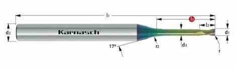Karnasch VHM-Micro-hoekradiusfrees, 2-snijder, NHC-7000 coating voor aluminium
