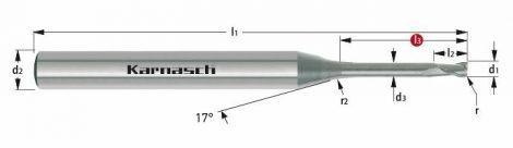 Karnasch VHM-Micro-hoekradiusfrees, 2-snijder, gepolijst