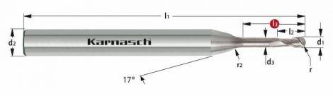 Karnasch VHM-Micro-radiusfrees, 2-snijder, gepolijst