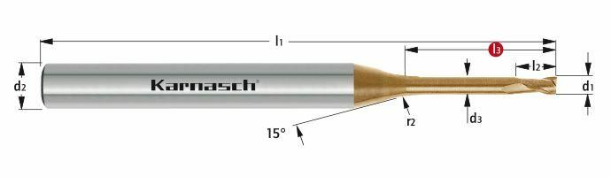 Karnasch VHM-Micro frees HHC/HSC/HPC Ø0,3 / L3= 1,0mm/ HXC-Nano³-coating Art: 3062550030010