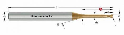 Karnasch VHM-Micro-hoekradiusfrees, 2-snijder, opname Ø4mm, HXC-Nano³ coating voor staal en RVS