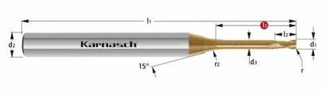 Karnasch VHM-Micro-hoekradiusfrees, 2-snijder, opname Ø6mm, HXC-Nano³ coating voor staal en RVS