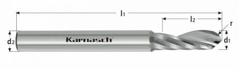 Karnasch VHM-radiusfrees, 1-snijder, rechtse spiraal, rechts snijdend