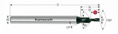 Karnasch VHM-Micro-Pilot-trappenboor 170°/90° zonder binnenkoeling, cilindrische opname, DVC-X2-coating