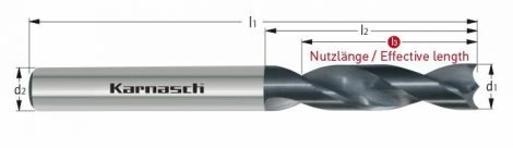 Karnasch GFK/CFK VHM-boor, cilindrische opname, DCA-06-diamantcoating