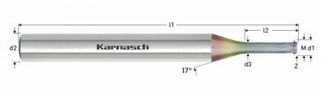 Karnasch VHM-Micro draadfrees LogTop polished, metrisch, voor binnendraad, NHC-7000 coating voor aluminium