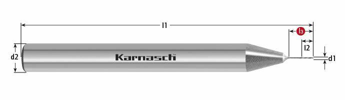 Karnasch VHM-Micro-Precisieruimer HSR, cilindrische opname, linkse spiraal, rechtssnijdend