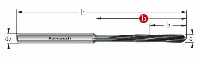 Karnasch VHM-Micro-Precisieruimer HPC Ø1,48+0,004/L3=21/Z=3 cyl. opname, linkse spiraal, rechtssnijdend Art: 2214520148
