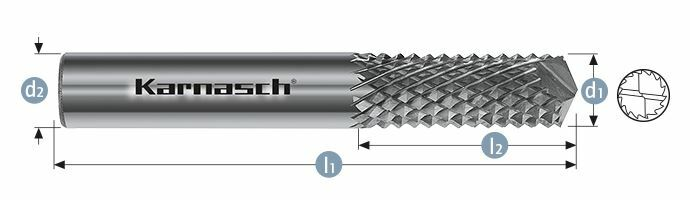 Karnasch HM freesstift ongecoat Type GFK/ CFK d1= 1,6 / l2= 5 / d2= 3 / l1= 38mm Art: 116004001