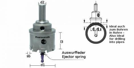 Karnasch HM gatenzaag Power-Max 20, snedediepte 30mm met opname, centreerboor en uitwerpveer
