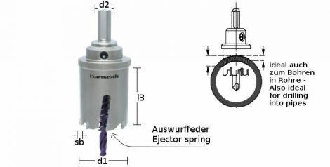 Karnasch HM gatenzaag Power-Max 60, snedediepte 60mm met opname, centreerboor en uitwerpveer