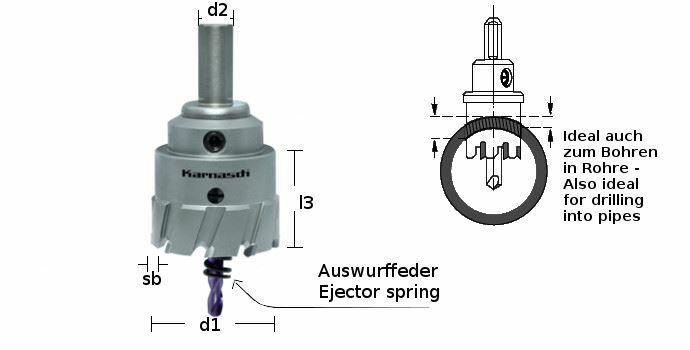 Karnasch HM gatenzaag Power-Max 30 met opname, centreerboor, uitwerpveer; snedediepte 30mm; Ø33mm BESTSELLER Art: 201130033