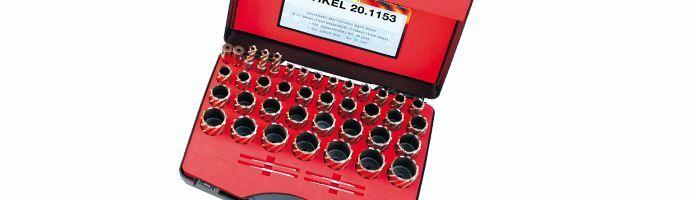 Karnasch Set DELUXE, Silver-Line25 39 HSS-XE ongecoate kernboor: snijdiepte 25mm, Weldonopname 19mm, elk 1 Stk: Ø12 - 50mm, 1,0mm oplopend 4 uitwerpstift 6,34x77mm BESTSELLER Art: 201153
