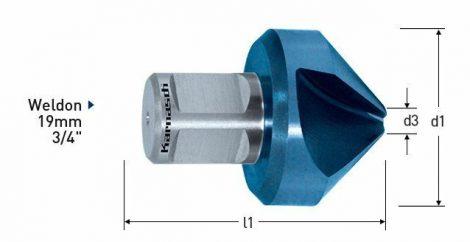 Karnasch HSS-XE verzinker 90°, Weldonopname 19mm, Blue-Tec gecoat