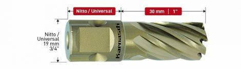 Karnasch HSS-XE kernboor Gold-Drill Line 30 Sandwich, snijdiepte 30mm, Nitto/Uni-opname, Inch-maten
