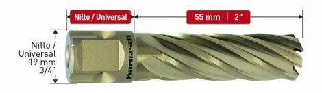 Karnasch HSS-XE kernboor Gold-Drill Line 55 Sandwich, snijdiepte 55mm, Nitto/Uni-opname, Inch-maten