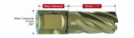 Karnasch HSS-XE kernboor Gold-Line30, snijdiepte 30mm, Nitto/Uni-opname 19mm