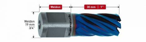 Karnasch PM Kernboor Blue-Line30 PRO/Blue-Line-Rail30 PRO, snijdiepte 30mm, Weldonopname 19mm, DURABLUE-gecoat