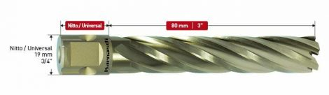 Karnasch HSS-XE kernboor Gold-Line80, snijdiepte 80mm, Nitto/Uni-opname 19mm