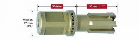 Karnasch HM kernboor Rail-Line30, snijdiepte 30mm, Weldonopname 19mm