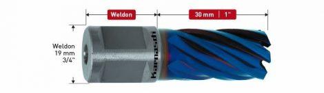 Karnasch HSS-XE Kernboor Blue-Line30, snijdiepte 30mm, Weldonopname 19mm, DURABLUE-gecoat BESTSELLER
