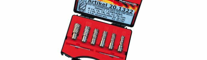 Karnasch Set BASIC, Gold-Line30 6 HSS-XE ongecoate kernboor: snijdiepte 30mm, Weldonopname 19mm, elk 1 Stk Ø14, 16, 18, 20, 22, 26mm, 2 uitwerpstift 6,34x77mm, BESTSELLER, Art: 201322