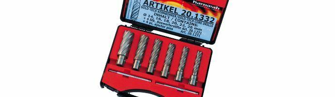 Karnasch Set BASIC, Gold-Line55 6 HSS-XE ongecoate kernboor: snijdiepte 55mm, Weldonopname 19mm, elk 1 Stk Ø14, 16, 18, 20, 22, 26 mm, 2 uitwerpstift 6,34x102mm, BESTSELLER, Art: 201332
