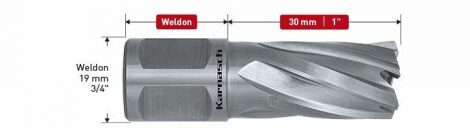 Karnasch HSS-XE kernboor Silver-Line Rail30, snijdiepte 30mm, Weldonopname 19mm