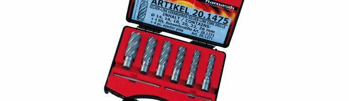 Karnasch Set BASIC, Silver-Line50 6 HSS-XE ongecoate kernboor: snijdiepte 50mm, Weldonopname 19mm, elk 1: Ø14, 16, 18, 20, 22, 26 mm, 2 uitwerpstift 6,34x102mm BESTSELLER Art: 201475