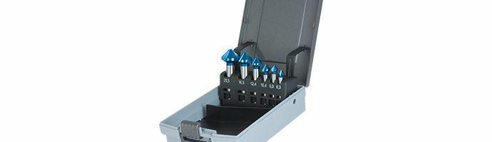 Karnasch Verzinkerset HSS-XE Blue-Tec gecoat - 90° 6.3, 8.3, 10.4, 12.4, 16.5, 20.5mm Art: 201643