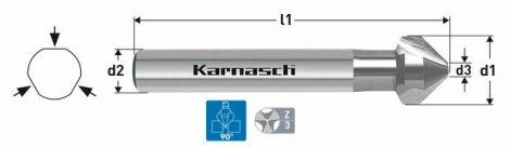 Karnasch HSS-XE verzinker 90°, 3-vlaksopname BESTSELLER