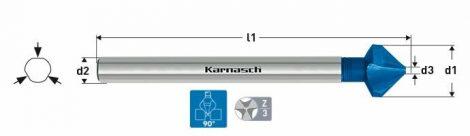 Karnasch HSS-XE verzinker 90°, lange 3-vlaksopname, Blue-Tec gecoat
