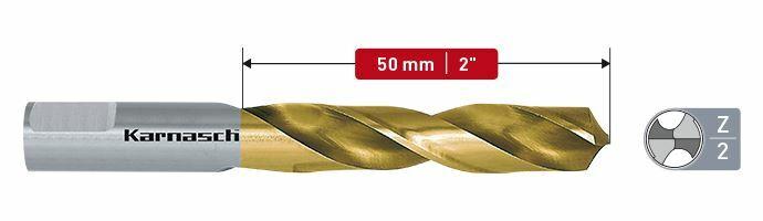 Karnasch HSS-Co spiraalboor, snijdiepte 50mm, TIN gecoat