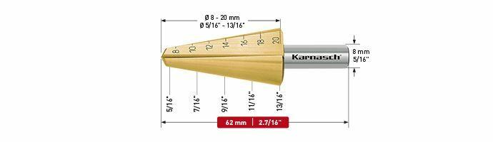 Karnasch plaatstaalboor HSS-XE TIN Ø8-20mm Art: 210037
