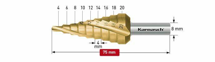 Karnasch trappenboor spiraal HSS-XE TIN Ø4-20mm Art: 213002 BESTSELLER