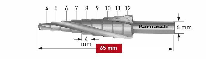 Karnasch trappenboor spiraal HSS-XE Ø4-12mm Art: 213004 BESTSELLER