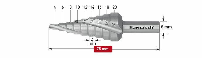 Karnasch trappenboor spiraal HSS-XE Ø4-20mm Art: 213005 BESTSELLER