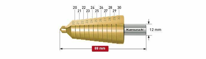 Karnasch trappenboor HSS-XE TIN Ø20-30mm Art: 213010