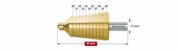 Karnasch trappenboor HSS-XE TIN Ø30-40mm Art: 213011