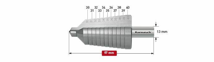 Karnasch trappenboor HSS-XE Ø30-40mm Art: 213014