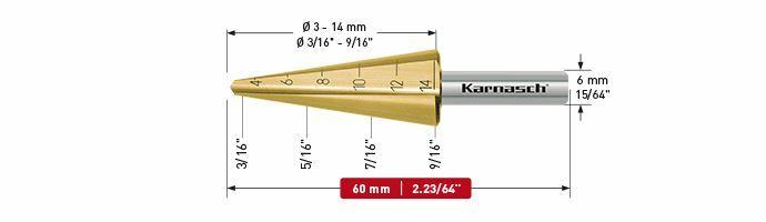 Karnasch plaatstaalboor HSS-XE TIN Ø3-14mm Art: 213019