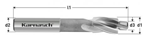 Karnasch HSS-XE vlakverzinker 180°, GF, voor doorgaande boring met schroefdraad