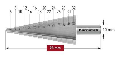 Karnasch trappenboor HSS-XE, rechte spaangroef, 2-Schneiden Ø6-32mm Art: 213032 BESTSELLER