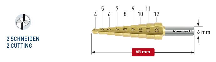 Karnasch trappenboor HSS-XE TiN-Gold gecoat, rechte spaangroef, 2-Snijkanten Ø4-12mm Art: 213033 BESTSELLER