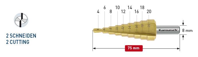 Karnasch trappenboor HSS-XE TiN-Gold gecoat, rechte spaangroef, 2-Snijkanten Ø4-20mm Art: 213034