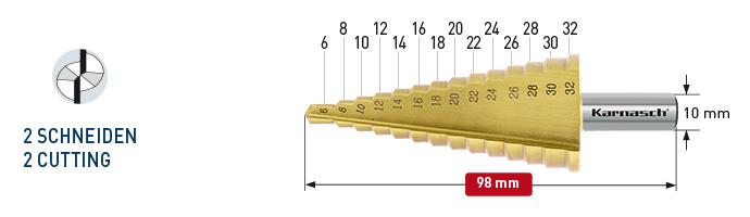 Karnasch trappenboor HSS-XE TiN-Gold gecoat, rechte spaangroef, 2-Snijkanten Ø6-32mm Art: 213035 BESTSELLER