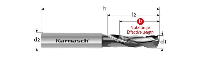Karnasch VHM-Boor zonder binnenkoeling, cil. opname, 3xD of 5xD, VALUE TOOL