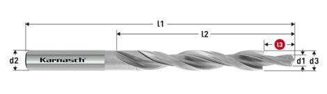 Karnasch HSS-XE Meerfasen-trappenboor DIN 8376, 180° GM voor doorlopende draad