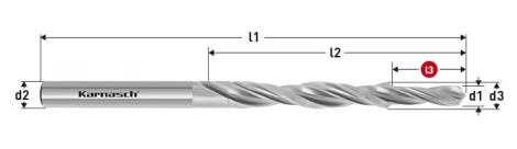 Karnasch HSS-XE Meerfasen-trappenboor DIN 8378, 90° voor Kernboor-verzinking